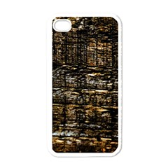 Wood Texture Dark Background Pattern Apple iPhone 4 Case (White)