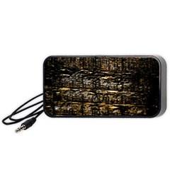 Wood Texture Dark Background Pattern Portable Speaker (Black)