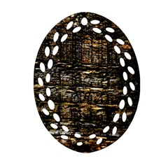 Wood Texture Dark Background Pattern Ornament (Oval Filigree)