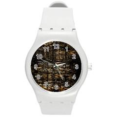 Wood Texture Dark Background Pattern Round Plastic Sport Watch (m)