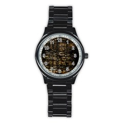 Wood Texture Dark Background Pattern Stainless Steel Round Watch