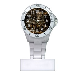 Wood Texture Dark Background Pattern Plastic Nurses Watch