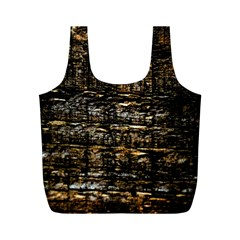 Wood Texture Dark Background Pattern Full Print Recycle Bags (m)