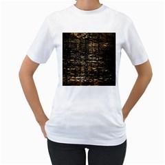 Wood Texture Dark Background Pattern Women s T-Shirt (White)