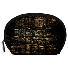Wood Texture Dark Background Pattern Accessory Pouches (Large)