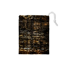Wood Texture Dark Background Pattern Drawstring Pouches (Small)