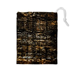 Wood Texture Dark Background Pattern Drawstring Pouches (large)