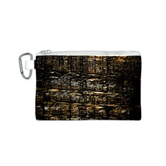 Wood Texture Dark Background Pattern Canvas Cosmetic Bag (S)