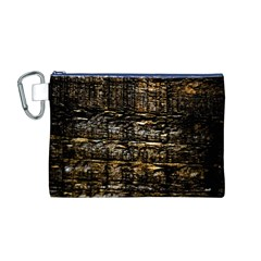 Wood Texture Dark Background Pattern Canvas Cosmetic Bag (m)