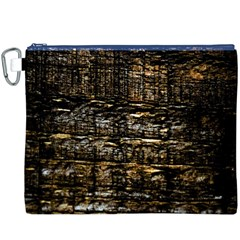 Wood Texture Dark Background Pattern Canvas Cosmetic Bag (XXXL)