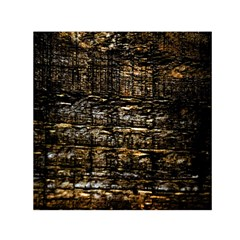Wood Texture Dark Background Pattern Small Satin Scarf (Square)
