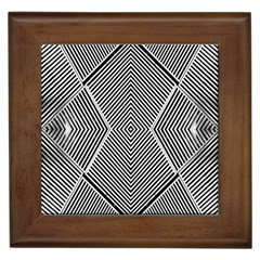 Black And White Line Abstract Framed Tiles