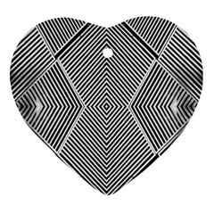 Black And White Line Abstract Ornament (heart)