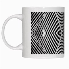 Black And White Line Abstract White Mugs