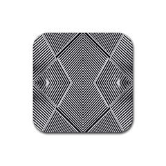 Black And White Line Abstract Rubber Square Coaster (4 pack)