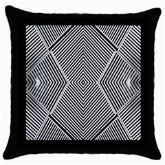 Black And White Line Abstract Throw Pillow Case (Black)