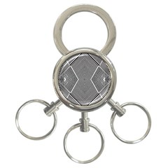 Black And White Line Abstract 3 Ring Key Chains