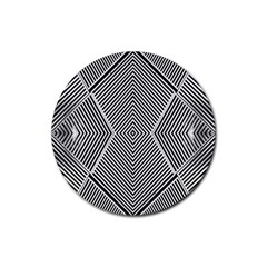 Black And White Line Abstract Rubber Coaster (Round)
