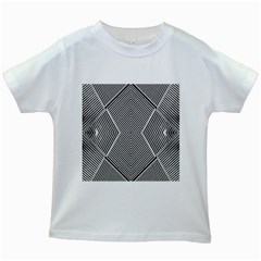 Black And White Line Abstract Kids White T-Shirts