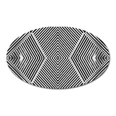 Black And White Line Abstract Oval Magnet