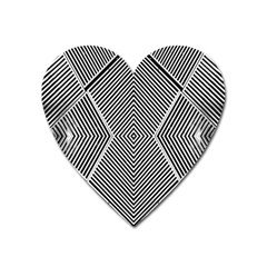 Black And White Line Abstract Heart Magnet