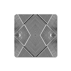 Black And White Line Abstract Square Magnet