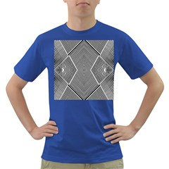 Black And White Line Abstract Dark T-Shirt