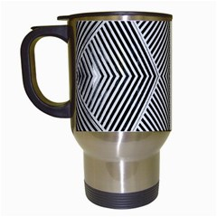 Black And White Line Abstract Travel Mugs (white)