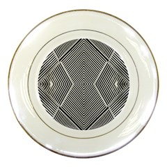 Black And White Line Abstract Porcelain Plates