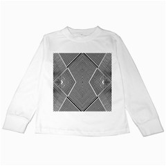 Black And White Line Abstract Kids Long Sleeve T Shirts