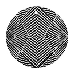 Black And White Line Abstract Round Ornament (two Sides)