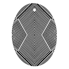 Black And White Line Abstract Oval Ornament (Two Sides)