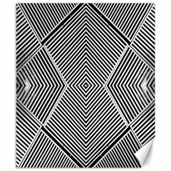 Black And White Line Abstract Canvas 8  x 10