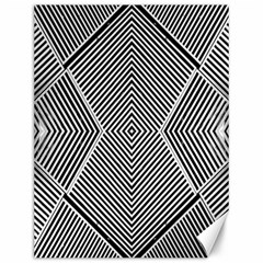 Black And White Line Abstract Canvas 12  x 16
