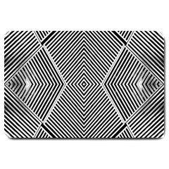 Black And White Line Abstract Large Doormat