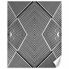 Black And White Line Abstract Canvas 11  x 14