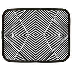 Black And White Line Abstract Netbook Case (large)