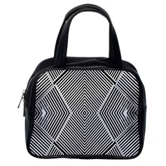 Black And White Line Abstract Classic Handbags (One Side)