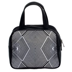 Black And White Line Abstract Classic Handbags (2 Sides)