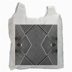 Black And White Line Abstract Recycle Bag (two Side)