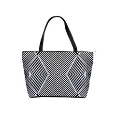 Black And White Line Abstract Shoulder Handbags