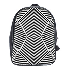 Black And White Line Abstract School Bags(Large)