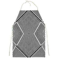 Black And White Line Abstract Full Print Aprons