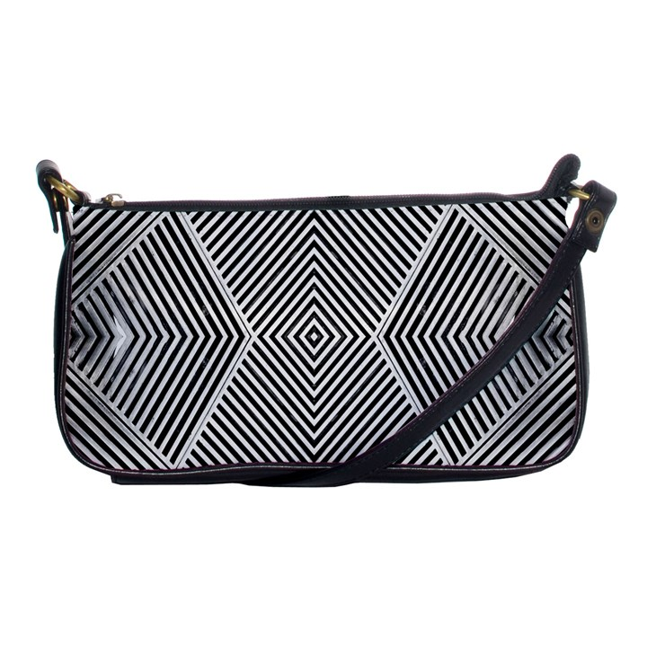 Black And White Line Abstract Shoulder Clutch Bags