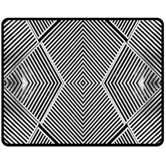 Black And White Line Abstract Fleece Blanket (medium)