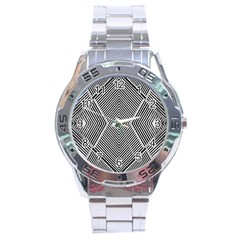 Black And White Line Abstract Stainless Steel Analogue Watch