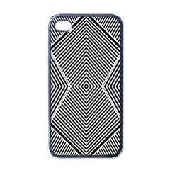 Black And White Line Abstract Apple iPhone 4 Case (Black)