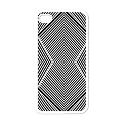 Black And White Line Abstract Apple iPhone 4 Case (White)