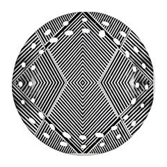 Black And White Line Abstract Ornament (Round Filigree)
