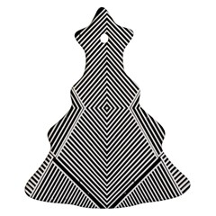 Black And White Line Abstract Christmas Tree Ornament (Two Sides)